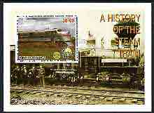 Uzbekistan 2001 A History of the Steam Train #1 perf m/sheet with Rotary Logo, fine cto used