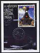 Uzbekistan 2001 A History of the Steam Train #2 perf m/sheet with Rotary Logo, fine cto used