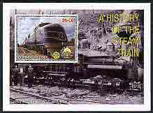 Uzbekistan 2001 A History of the Steam Train #3 perf m/sheet with Rotary Logo, fine cto used, stamps on railways, stamps on rotary