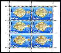 Pabay 1969 Fish 1s (Plaice) complete perf sheetlet of 6 unmounted mint