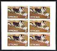 Stroma 1969 Dogs 1s3d (Collie) complete imperf sheetlet of 6 with 'Europa 1969' opt unmounted mint