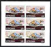 Stroma 1969 Dogs 2s6d (Greyhound) complete imperf sheetlet of 6 with 'Europa 1969' opt unmounted mint