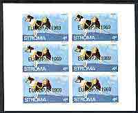 Stroma 1969 Dogs 4d (Husky) complete imperf sheetlet of 6 with 'Europa 1969' opt unmounted mint