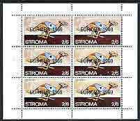 Stroma 1969 Dogs 2s6d (Greyhound) complete perf sheetlet of 6 with 'Europa 1969' opt unmounted mint