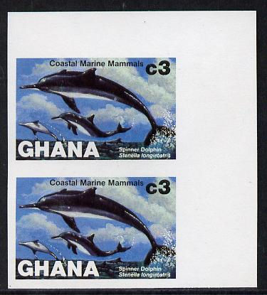 Ghana 1983 Marine Mammals 3c (Spinner Dolphin) imperf pair unmounted mint as SG 1035