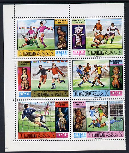Ras Al Khaima 1970 Football World Cup set of 6 unmounted mint, Mi 354-59A