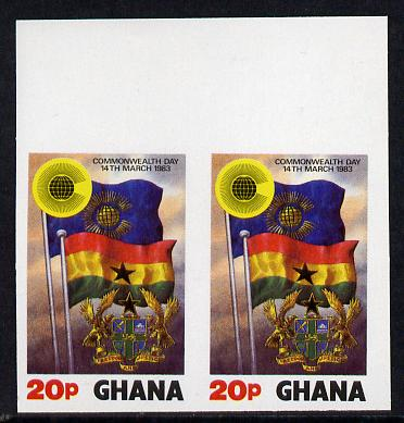 Ghana 1983 Commonwealth Day 20p (Flags) imperf pair unmounted mint, as SG 1019