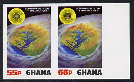 Ghana 1983 Commonwealth Day 55p (Satellite view of Ghana) imperf pair unmounted mint (as SG 1020)