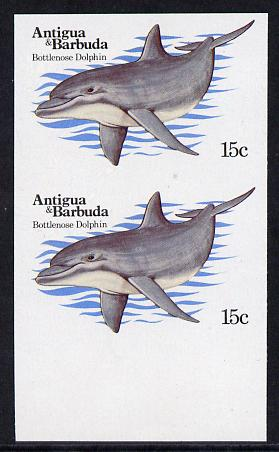 Antigua 1983 Whales15c (Dolphin) unmounted mint imperf pair (as SG 788)