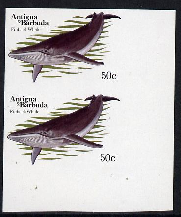 Antigua 1983 Whales 50c (Fin Whale) unmounted mint imperf pair (as SG 789)