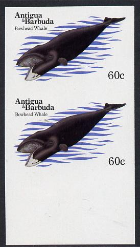 Antigua 1983 Whales 60c (Bowhead Whale) unmounted mint imperf pair (as SG 790)