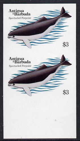 Antigua 1983 Whales $3 (Spectacled Porpoise) unmounted mint imperf pair (as SG 791)