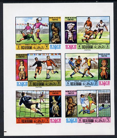 Ras Al Khaima 1970 Football World Cup imperf set of 6 unmounted mint, Mi 354-59B