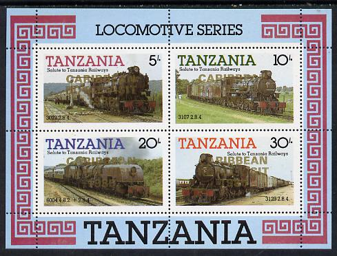 Tanzania 1985 Locomotives perf miniature sheet with 'Caribbean Royal Visit 1985' opt in gold (unissued) unmounted mint