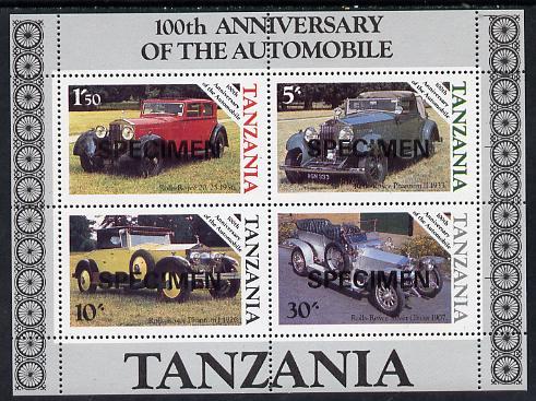 Tanzania 1986 Centenary of Motoring m/sheet opt'd SPECIMEN unmounted mint, as SG MS 460