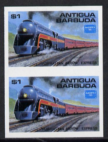 Antigua 1986 Ameripex Stamp Exhibition $1 (USA Powhatton Arrow Express) unmounted mint imperf pair (as SG 1016)
