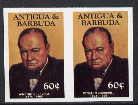Antigua 1984 Famous People 60c (Churchill) unmounted mint imperf pair (as SG 888)