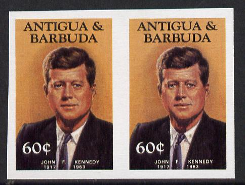 Antigua 1984 Famous People 60c (Kennedy) unmounted mint imperf pair (as SG 890)