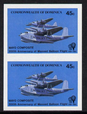 Dominica 1983 Manned Flight 45c (Mayo-Mercury Seaplane composite) imperf pair unmounted mint, as SG 853