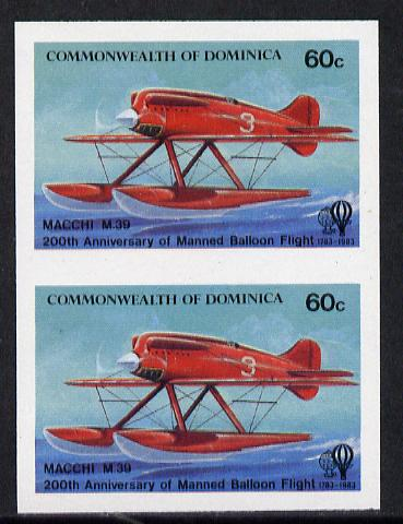 Dominica 1983 Manned Flight 60c (Macchi M39 Seaplane) imperf pair unmounted mint, as SG 854