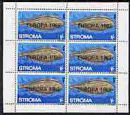 Stroma 1969 Fish 1s (Sole) with 'Europa 1969' opt complete perf sheetlet of 6 values unmounted mint