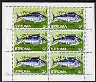 Stroma 1970 Fish 2s (Tunny) with '6th Anniversary of Death of Sir Winston Churchill' opt in error complete perf sheetlet of 6 values unmounted mint