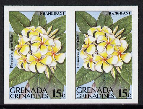 Grenada - Grenadines 1984 Flowers 15c (Frangipani) unmounted mint imperf pair (as SG 583)