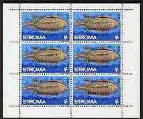 Stroma 1970 Fish 1s (Sole) with silver dot obliterating '6th' then opt'd '5th Anniversary of Death of Sir Winston Churchill' complete perf sheetlet of 6 values unmounted mint