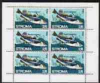 Stroma 1970 Fish 2s6d (Hake) with silver dot obliterating '6th' then opt'd '5th Anniversary of Death of Sir Winston Churchill' complete perf sheetlet of 6 values unmounted mint