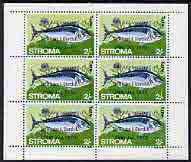 Stroma 1970 Fish 2s (Tunny) with silver dot obliterating '6th' then opt'd '5th Anniversary of Death of Sir Winston Churchill' complete perf sheetlet of 6 values unmounted mint