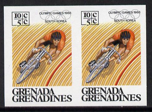 Grenada - Grenadines 1986 Olympic Games 10c (Cycling) unmounted mint imperf pair (as SG 804)