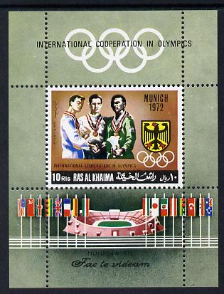 Ras Al Khaima 1969 Olympic Co-operation m/sheet unmounted mint, Mi BL 71A