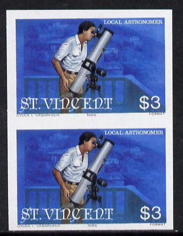 St Vincent 1986 Halley's Comet $3 (Amateur Astronomer with Telescope) imperf single as SG 976 unmounted mint