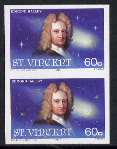 St Vincent 1986 Halley's Comet 60c (Edmond Halley) imperf single as SG 974 unmounted mint