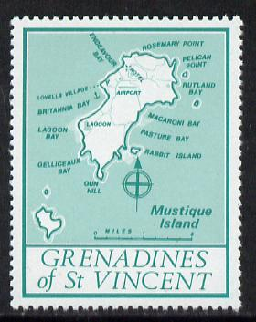 St Vincent - Grenadines 1977 the unissed Map stamp (without value) with Royal Visit overprint omitted (Map of Mustique Island in green) unmounted mint