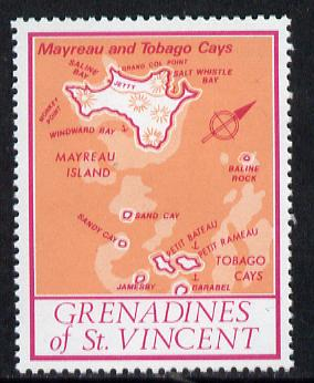 St Vincent - Grenadines 1977 the unissed Map stamp (without value) with Royal Visit overprint omitted (Map of Mayreau Island in orange) unmounted mint