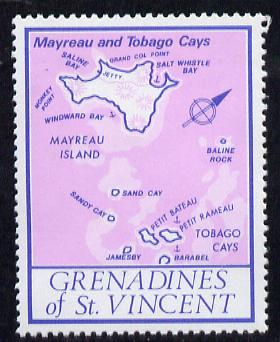 St Vincent - Grenadines 1977 the unissed Map stamp (without value) with Royal Visit overprint omitted (Map of Mayreau Island in violet) unmounted mint