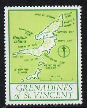 St Vincent - Grenadines 1977 the unissed Map stamp (without value) with Royal Visit overprint omitted (Map of Le Quatre Island in green) unmounted mint