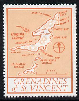 St Vincent - Grenadines 1977 the unissed Map stamp (without value) with Royal Visit overprint omitted (Map of Le Quatre Island in orange) unmounted mint