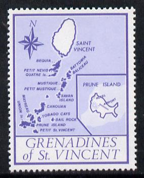 St Vincent - Grenadines 1977 the unissed Map stamp (without value) with Royal Visit overprint omitted (Map of Prune Island in blue) unmounted mint