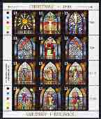 Guernsey 1993 Christmas - Stained Glass Windows perf sheetlet containing set of 12 values unmounted mint, SG 622a
