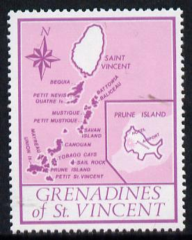 St Vincent - Grenadines 1977 the unissed Map stamp (without value) with Royal Visit overprint omitted (Map of Prune Island in mauve) unmounted mint