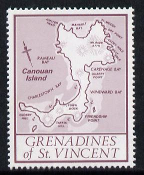St Vincent - Grenadines 1977 the unissed Map stamp (without value) with Royal Visit overprint omitted (Map of Canouan Island in purple) unmounted mint
