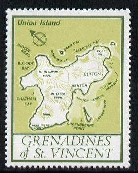 St Vincent - Grenadines 1977 the unissed Map stamp (without value) with Royal Visit overprint omitted (Map of Union Island in green) unmounted mint