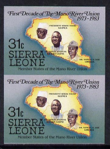 Sierra Leone 1984 Mano River 31c (Map & Presidents) imperf pair unmounted mint as SG 785