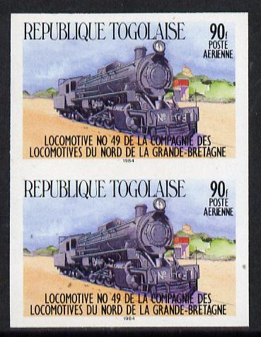 Togo 1984 Railways 90f (Northern Rly Loco) imperf pair (as SG 1754)