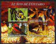 Congo 2004 Birds - Le Sud de L'Ontario perf sheetlet containing 4 values fine cto used