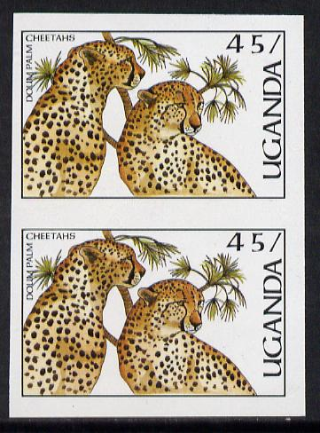 Uganda 1987 Flora & Fauna 45s (Cheetahs & Palm) imperf pair (as SG 564)