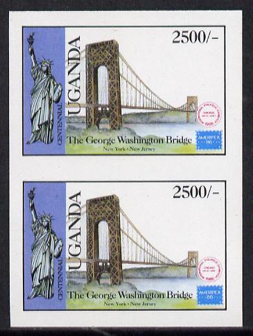 Uganda 1986 'Ausipex' Stamp Exhibition 2500s (George Washington Bridge) imperf pair (as SG 524)
