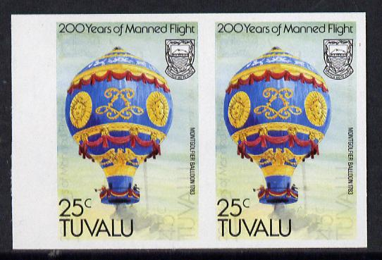 Tuvalu 1983 Manned Flight 25c (Montgolfier Balloon) imperf pair with feint offset of 45c on front (as SG 225)